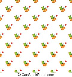 Hand on spring in box pattern, cartoon style