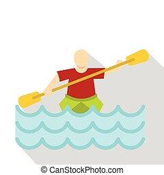 Kayaking water sport icon, flat style - Kayaking water...
