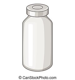 Glass medicine bottle icon, cartoon style