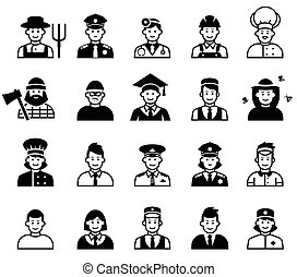 Avatar and People occupations icons. Human resources. Vector...
