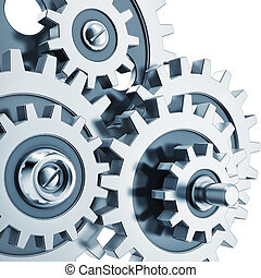 3D rendering of gears against a white background