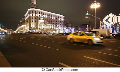 New Year (Christmas) lighting decoration of the city and...