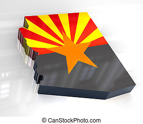 3d Flag map og Arizona - 3d made - Flag map og Arizona