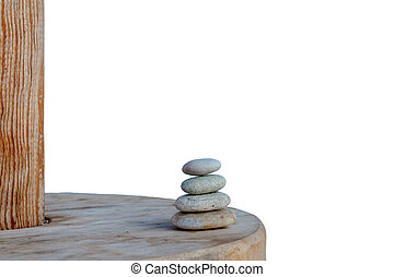 Balanced several Zen stones isolated on white background