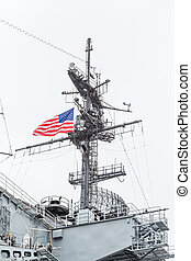 American Flag on Midway Aircraft Carrier - Decks and details...