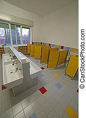 inside a bathroom for children in the preschool - bathroom...