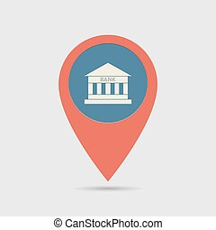 Map Pin For Bank Location | Map Marker, Pointer | Bank Icon