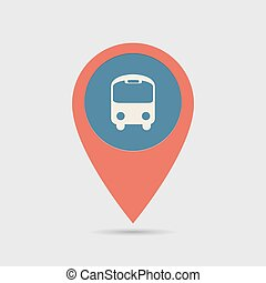 Map Pin For Bus Station Location   Map Marker, Pointer   Bus...