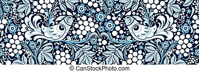 seamless texture floral ornament Russian style Khokhloma 6