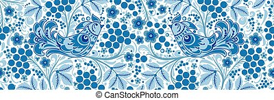 seamless texture floral ornament Russian style Khokhloma 5