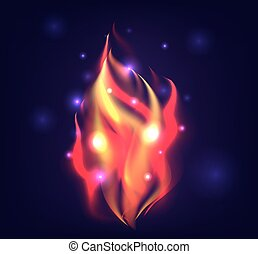 Vector illustration of realistic fire with sparks for your...
