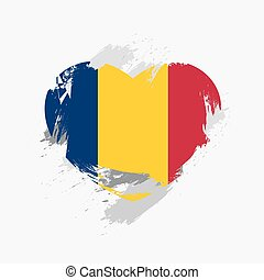 Flag of Chad isolated on grune heart. Vector illustration