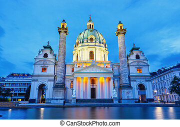 night view of famous Saint Charles's Church at Karlsplatz in...