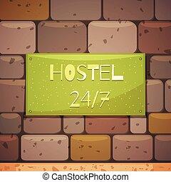 壁, れんが, ホステル, 看板, 住所