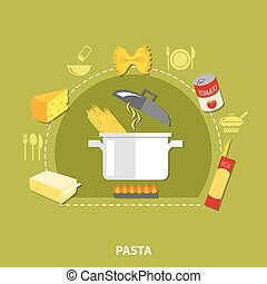 Home Cooking Concept - Home cooking concept with spaghetti...