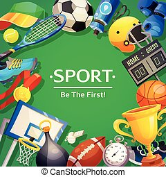 Sport Inventory Vector Illustration - Colorful poster on...