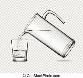 Pouring Water In Glass On Transparent Background - Pouring...