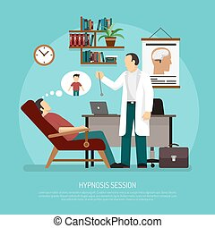 Hypnosis Session Vector Illustration - Flat vector...