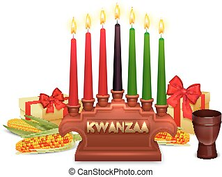 Kwanzaa Holiday Celebration Symbols Composition Poster -...