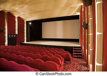 Cinema interior - Empty cinema auditorium with line of...