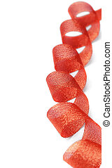 Red ribbon twisted spiral. - Red ribbon of twisted spiral on...