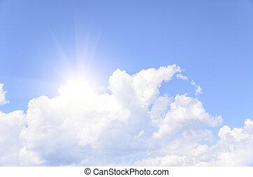 The sun behind a cloud.