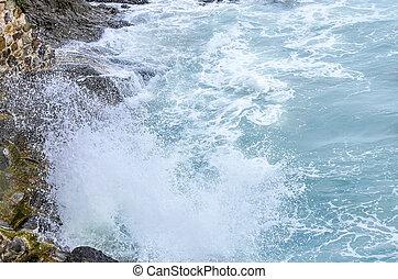Waves breaking on rocky coast.