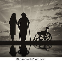 Disabled persons on crutches in reflection and nurse