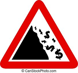 Falling Dollar Sign - Simple red and black graphic...