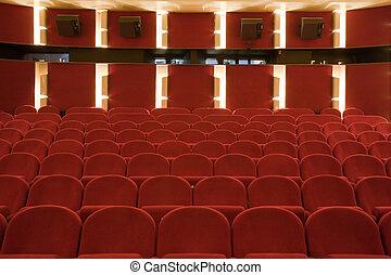Cinema interior - Interior of cinema auditorium with lines...