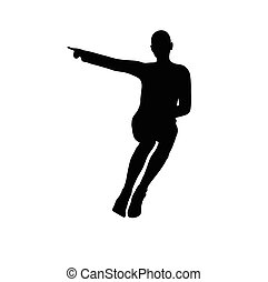 woman in stern pose on white background - EPS 10 vector...