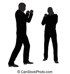 man in fight pose on white background - EPS 10 vector...