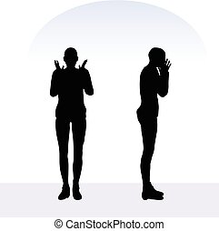 woman in angry pose on white background - EPS 10 vector...
