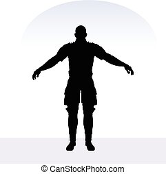 man in samurai pose on white background - EPS 10 vector...