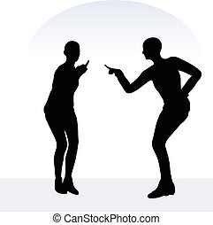 woman in blaming pose on white background - EPS 10 vector...