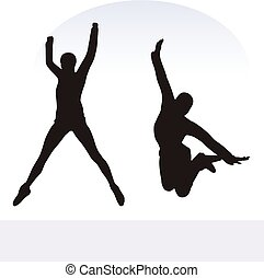 woman in excited pose on white background - EPS 10 vector...