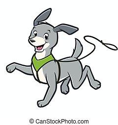 Cartoon Dog on Leash - Vector cartoon happy dog walking on...