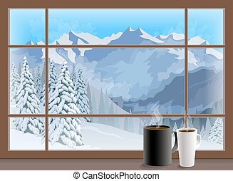 Coffee cups on a window sill. winter mountain landscape. Vector