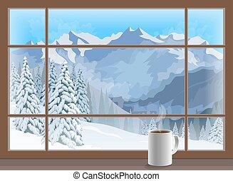 Coffee mug on a window sill. winter mountain landscape....