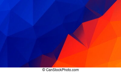 Blue orange color low polygonal moving background. Motion...