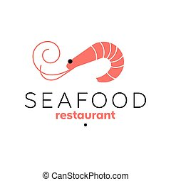 Shrimp logo template. Seafood restaurant sign. Prawn