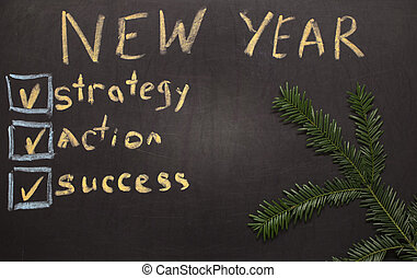 New Year Resolution Check List on Chalkboard background