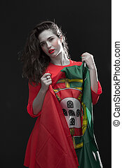 Beautiful woman with Flag of Spain. - Beautiful brunette...