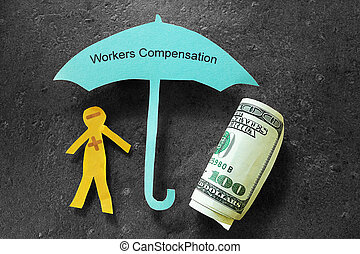 Workers Compensation concept - Injured paper man with money,...