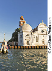 San Michele cemetery church in Venice, Italy. View from...