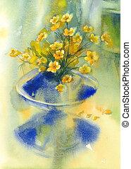 yellow flowers in vase watercolor