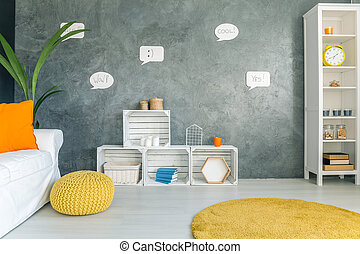 Home interior with grey wall