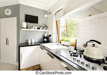 Functional modern white kitchen with cabinets, stove and...