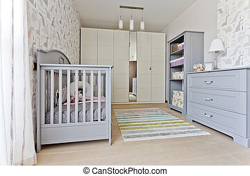 Modern universal nursery with grey babcy cot, built-in...