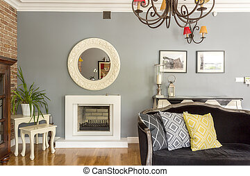 Living room with sofa and fireplace - Cozy living room...